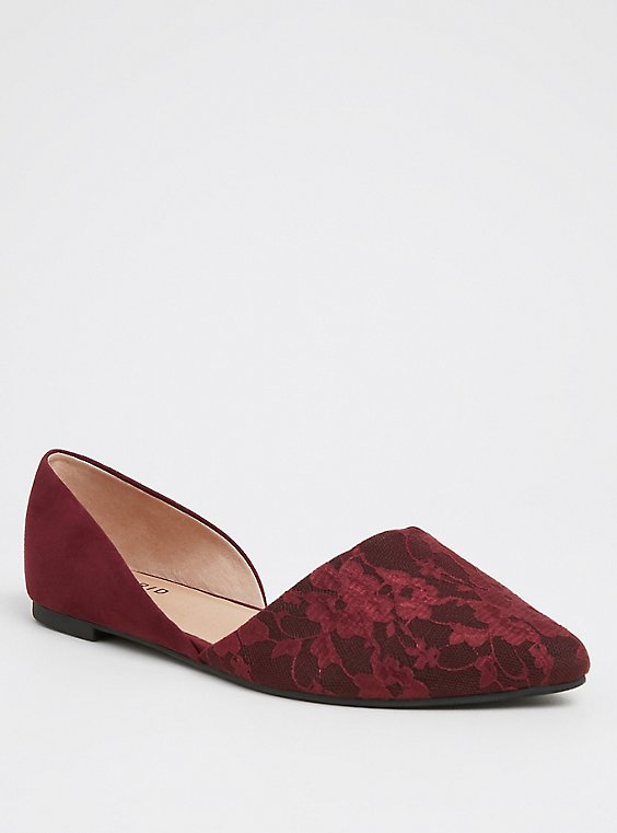 Red Wine Lace D'Orsay Flat (WW), , hi-res