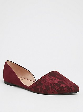 Red Wine Lace D'Orsay Flat (WW), BURGUNDY, hi-res