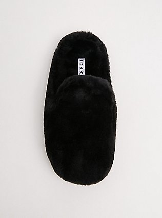 Black Faux Fur Loafer Slipper (WW) , BLACK, alternate