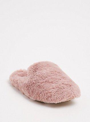 Mauve Pink Faux Fur Loafer Slipper (WW), BLUSH, hi-res