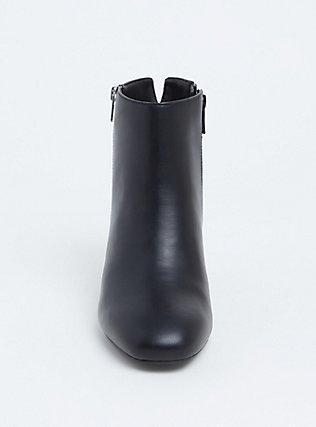 Black Faux Leather Double Zip Block Bootie (WW), BLACK, alternate
