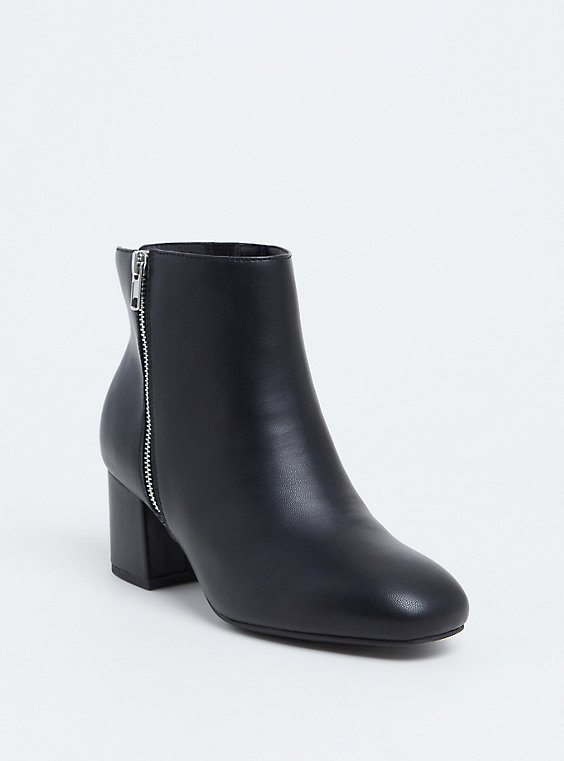 Black Faux Leather Double Zip Block Bootie (WW), , hi-res
