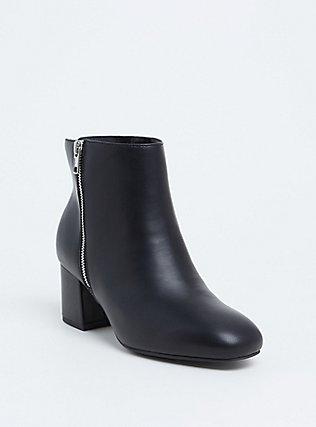 Black Faux Leather Double Zip Block Bootie (WW), BLACK, hi-res