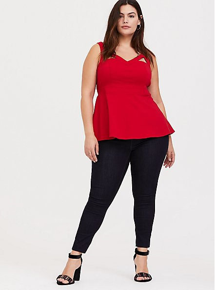 Plus Size Red Bengaline Cutout Peplum Top, BLOOD RED, alternate