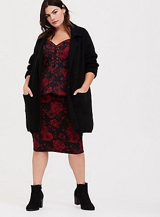 Black & Red Floral Bengaline Lace-Up Peplum Midi Top, MULTI, alternate