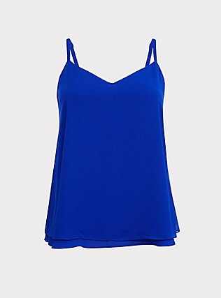 Sophie - Electric Blue Chiffon Double Layer Swing Cami, ELECTRIC BLUE, flat