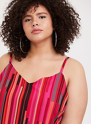 Plus Size Sophie - Pink Stripe Chiffon Double Layer Swing Cami, MULTI, alternate