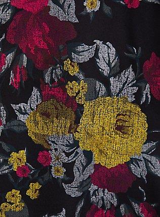 Black Floral Satin Halter Peplum Top, MULTI, alternate