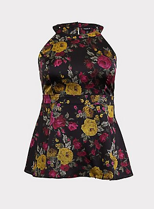 Black Floral Satin Halter Peplum Top, MULTI, flat