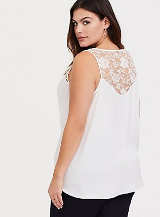Plus Size White Charmeuse Lace V-Neck Tank, CLOUD DANCER, hi-res