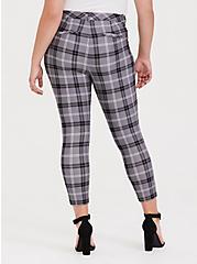 Plus Size Premium Ponte Skinny Pant - Plaid Slate Grey, EVEN CHIC PLAID, alternate