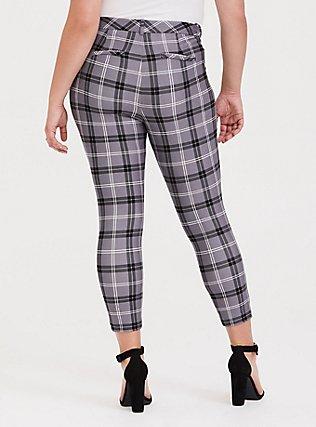 Premium Ponte Skinny Pant - Plaid Slate Grey, EVEN CHIC PLAID, alternate