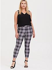 Premium Ponte Skinny Pant - Plaid Slate Grey, EVEN CHIC PLAID, alternate