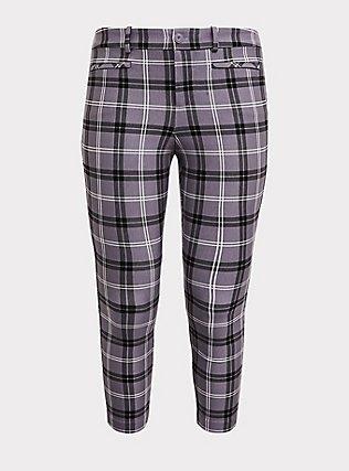 Premium Ponte Skinny Pant - Plaid Slate Grey, EVEN CHIC PLAID, flat