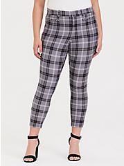 Plus Size Premium Ponte Skinny Pant - Plaid Slate Grey, EVEN CHIC PLAID, hi-res