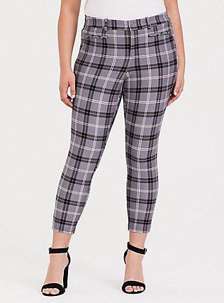 Grey Plaid Ponte Trouser Pant, , hi-res