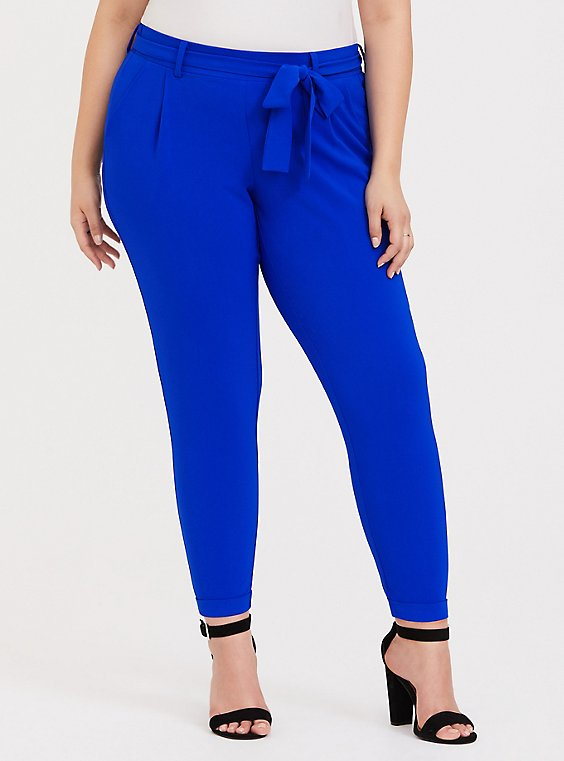Plus Size Electric Blue Crepe Tie Front Tapered Pant, , hi-res