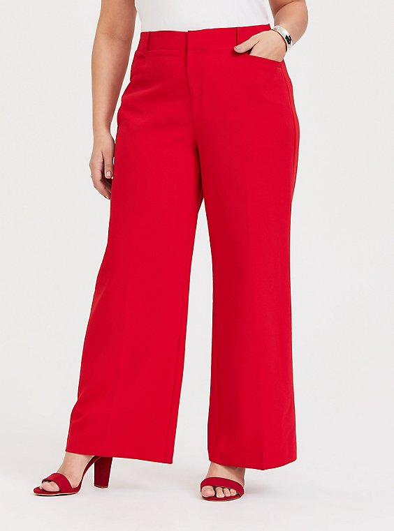 Red Structured Wide Leg Pant, , hi-res