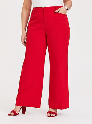 Red Structured Wide Leg Pant, BLOOD RED, hi-res
