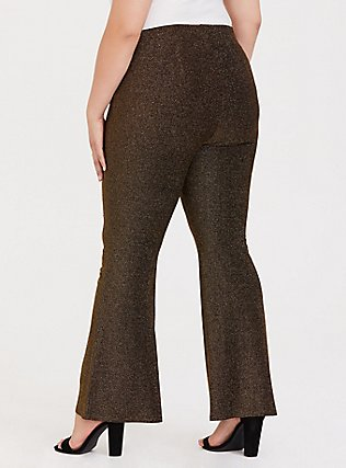Gold Shiny Fit & Flare Pant, GOLD, alternate