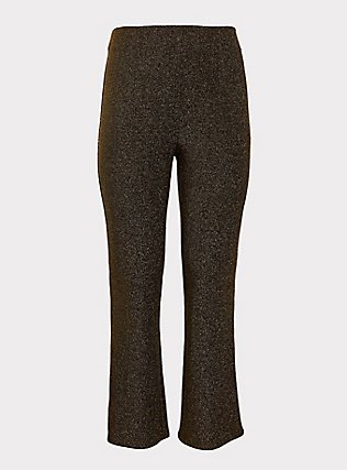 Gold Shiny Fit & Flare Pant, GOLD, flat