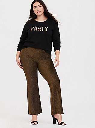 Plus Size Gold Shiny Fit & Flare Pant, GOLD, hi-res