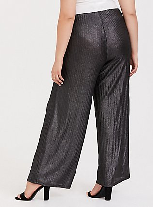 Grey Shine Pull-Up Wide Leg Pant, SILVER, alternate