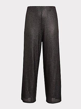 Grey Shine Pull-Up Wide Leg Pant, SILVER, flat