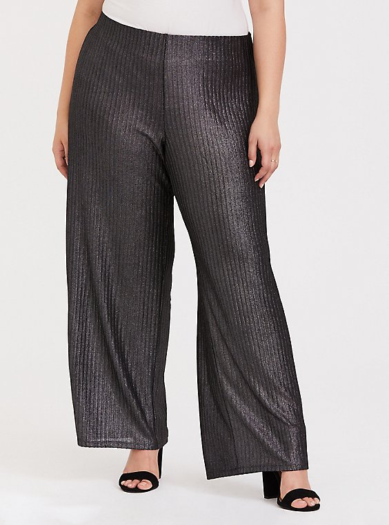 Plus Size Grey Shine Pull-Up Wide Leg Pant, SILVER, hi-res
