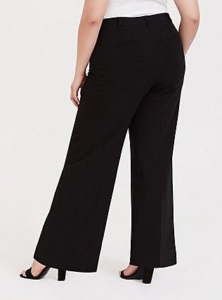 Black Structured Wide Leg Pant, DEEP BLACK, alternate