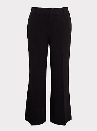 Black Structured Wide Leg Pant, DEEP BLACK, flat