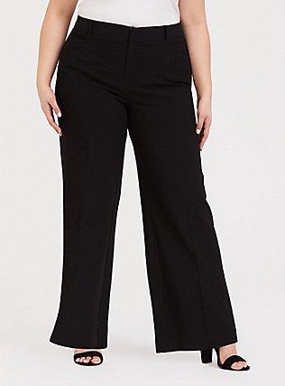 Plus Size Black Structured Wide Leg Pant, DEEP BLACK, hi-res
