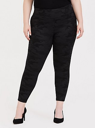 Plus Size Premium Ponte Pull-On Pixie Pant - Black Camo , COZY CAMO, hi-res