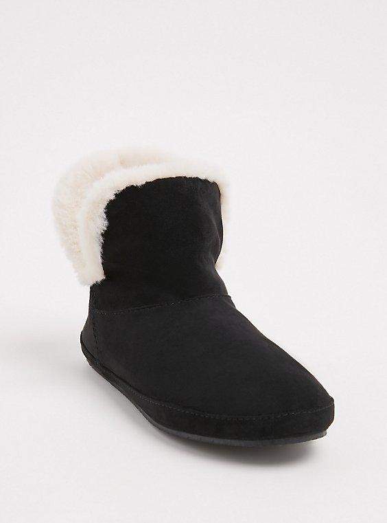 Black Faux Suede & Faux Fur Fold-Over Bootie Slipper (WW), BLACK, hi-res