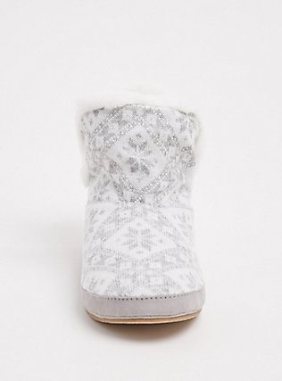 Light Grey Fair Isle Sweater-Knit & Faux Fur Fold-Over Bootie Slipper (WW), MULTI, alternate