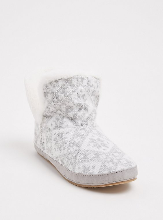 Light Grey Fair Isle Sweater-Knit & Faux Fur Fold-Over Bootie Slipper (WW), , hi-res
