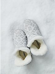 Light Grey Fair Isle Sweater-Knit & Faux Fur Fold-Over Bootie Slipper (WW), MULTI, hi-res