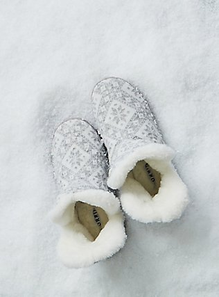 Light Grey Fair Isle Sweater-Knit & Faux Fur Fold-Over Bootie Slipper (WW), MULTI, pdped