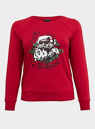 Plus Size Realest Red Fleece Santa Holiday Sweatshirt, JESTER RED, flat