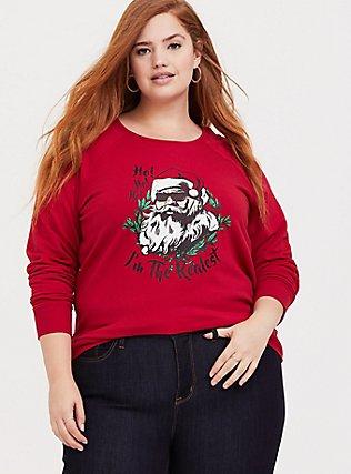 Realest Red Fleece Santa Holiday Sweatshirt, JESTER RED, hi-res