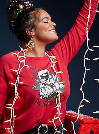 Plus Size Realest Red Fleece Santa Holiday Sweatshirt, JESTER RED, pdped