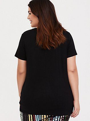 Super Soft Cheers Black Slim Fit Sequin Tee, DEEP BLACK, alternate