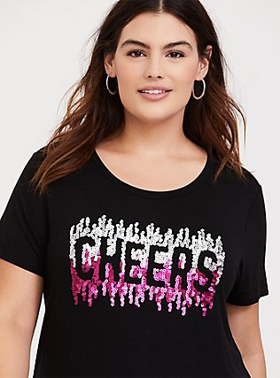 Plus Size Super Soft Cheers Black Slim Fit Sequin Tee, DEEP BLACK, hi-res
