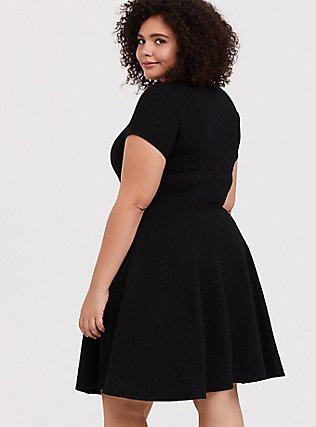 Black Textured Knit Skater Dress, DEEP BLACK, alternate