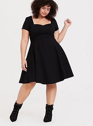 Black Textured Knit Skater Dress, DEEP BLACK, hi-res