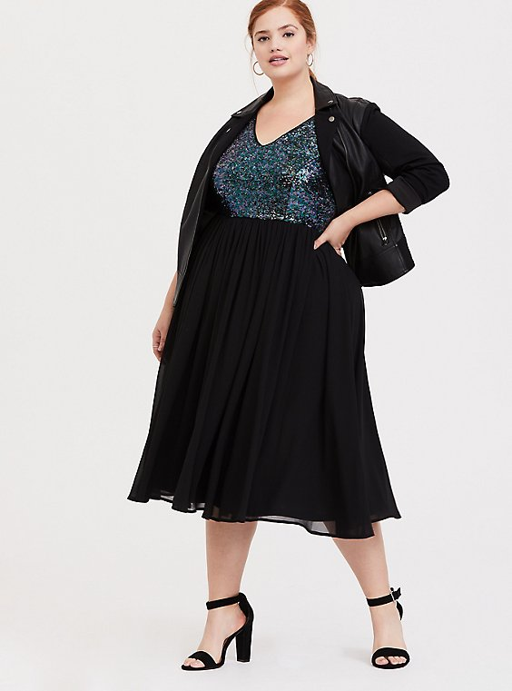 Black Sequin Chiffon Skater Midi Dress, , hi-res