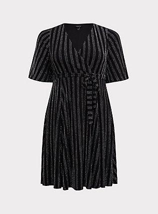 Black Metallic Lurex Stripe Wrap Dress, , flat
