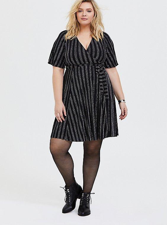 Plus Size Black Metallic Lurex Stripe Wrap Dress, , hi-res