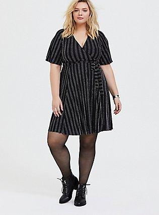 Black Metallic Lurex Stripe Wrap Dress, , hi-res