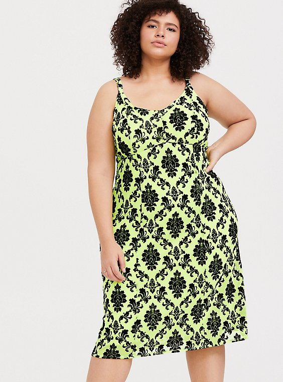 Plus Size Neon Yellow Mesh Sleeveless Slip Dress, , hi-res